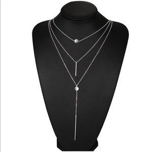 Silver-tone multilayer necklace